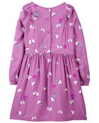 Floral Butterfly Viscose Dress, , hi-res