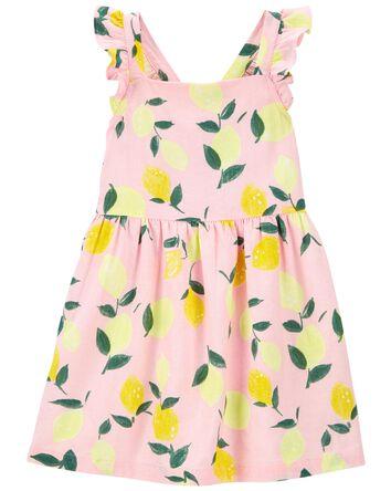 Lemon Flutter Linen Dress