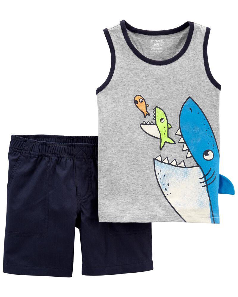 2-Piece Shark Tank & Short Set, , hi-res