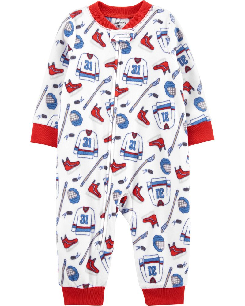 1-Piece Hockey Fleece Footless PJs, , hi-res