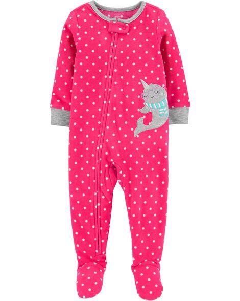 Pyjama 1 pièce à pieds en molleton motif narval