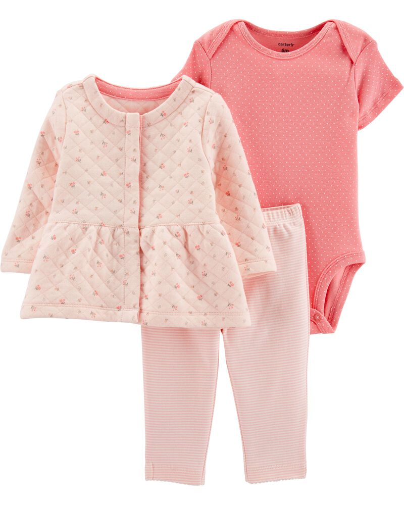 3-Piece Quilted Little Jacket Set, , hi-res