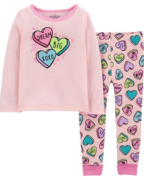 Pyjama 2 pièces ajusté à imprimé de cœurs en bonbon