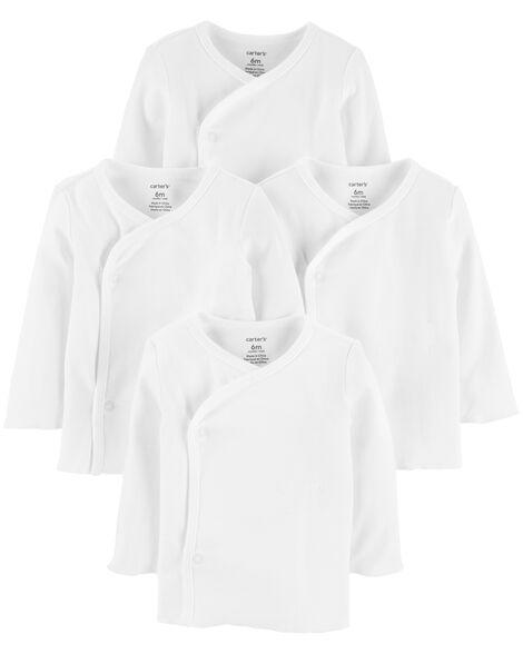 Emballage de 4 t-shirts avec boutons-pression sur le côté