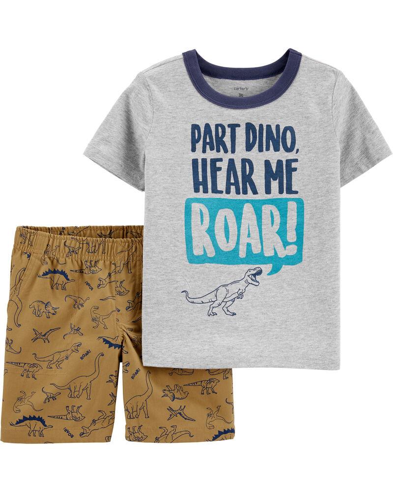 2-Piece Dinosaur Jersey Tee & Canvas Short Set, , hi-res