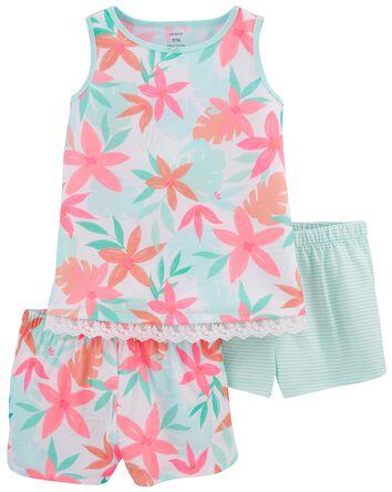 Pyjama 3 pièces de coupe ample fleu...