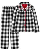 2-Piece Checkered Coat-Style Fleece PJs, , hi-res