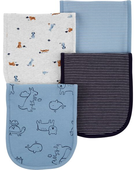 4-Pack Animals Burp Cloths