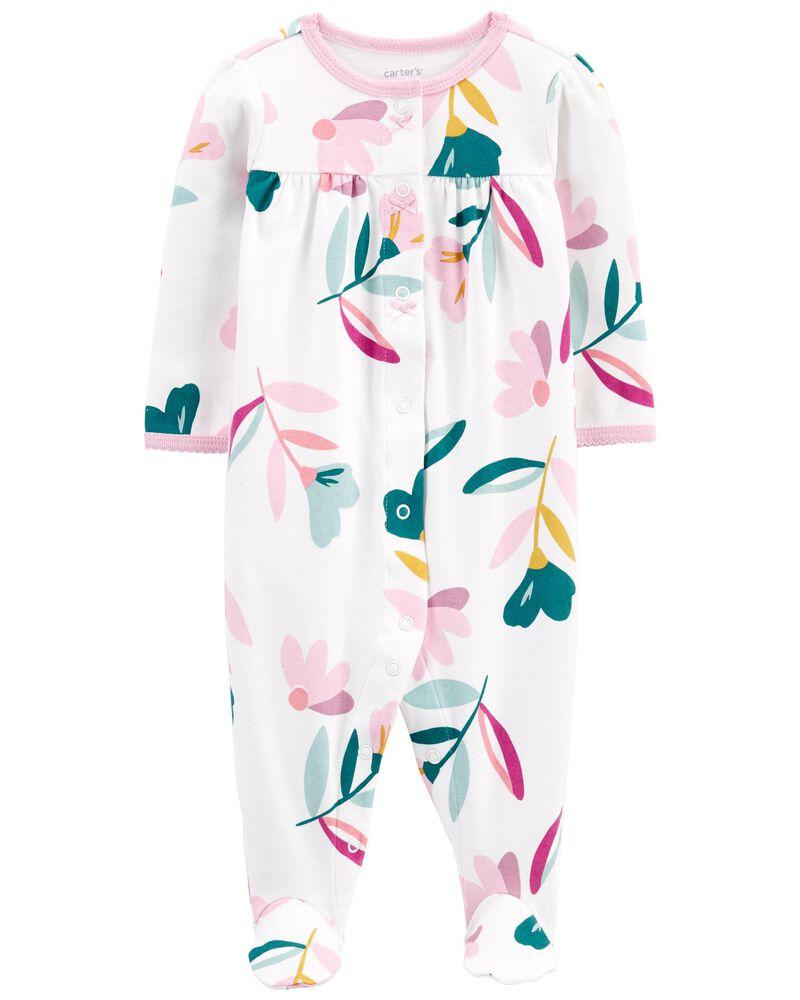 Grenouillère en coton pour dormir et jouer à boutons-pression et fleurs , , hi-res