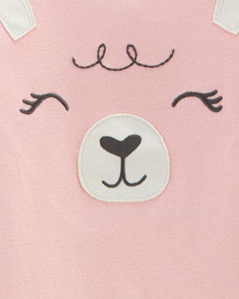 Pyjama 2 pièces en molleton ajusté motif lama scintillant