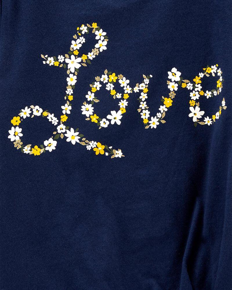 T-shirt en jersey fleuri Love, , hi-res