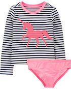 Unicorn Stripe Rashguard Set, , hi-res