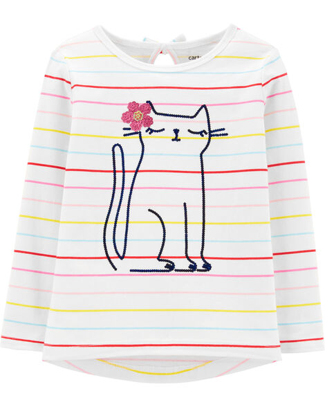 Sequin Cat Jersey Tee