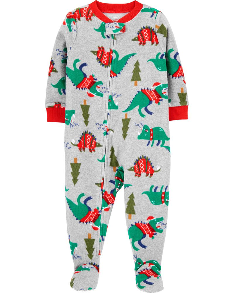 1-Piece Dinosaur Fleece Footie PJs, , hi-res