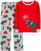 Pyjama 2 pièces en molleton à motif de dinosaure des Fêtes, , hi-res