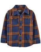 Plaid Fleece Shirt Jacket, , hi-res