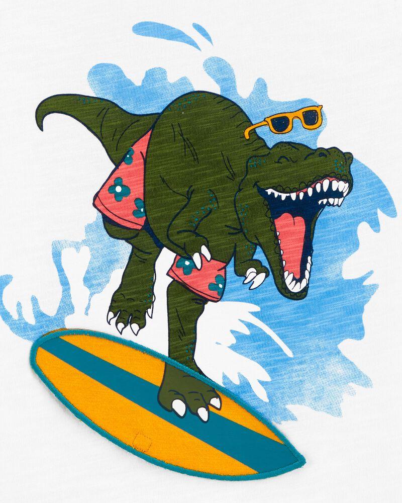 T-shirt en jersey flammé avec dinosaure surfeur interactif, , hi-res