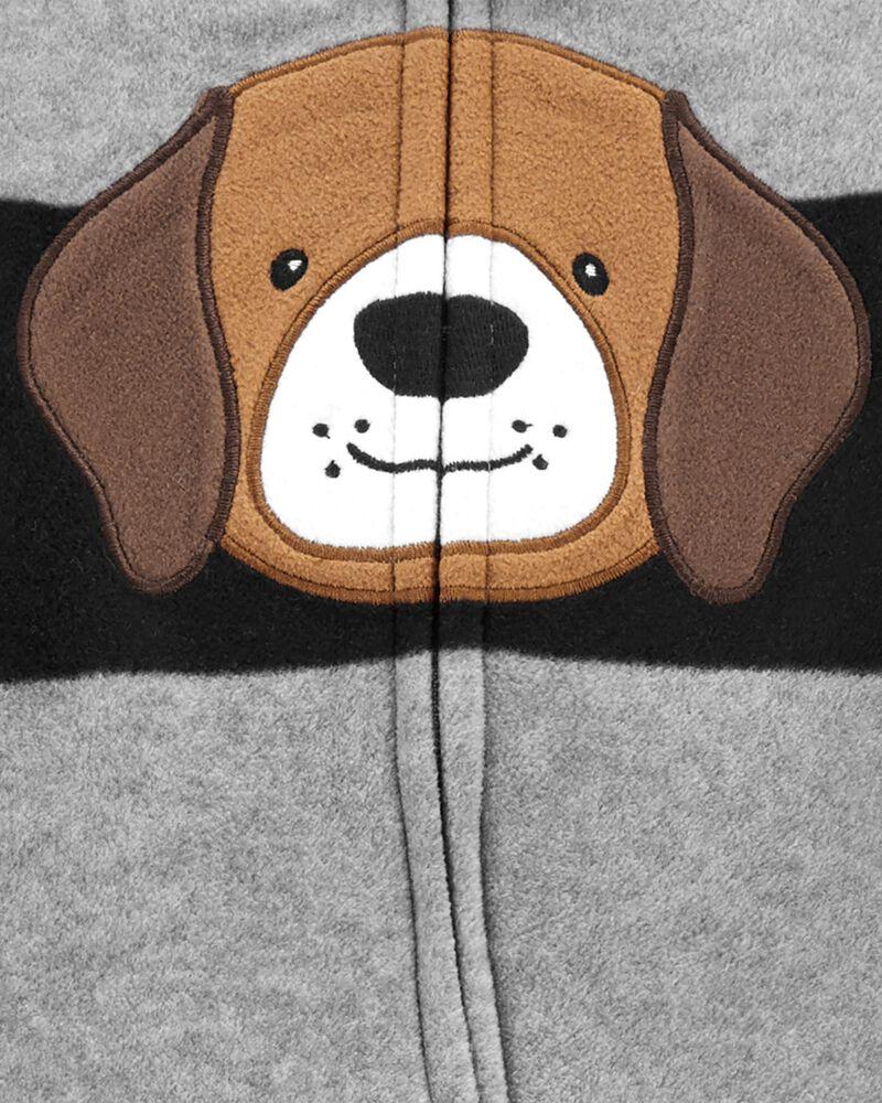 Grenouillère en molleton à glissière motif chien, , hi-res