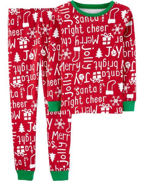 2-Piece Christmas Snug Fit Cotton PJs
