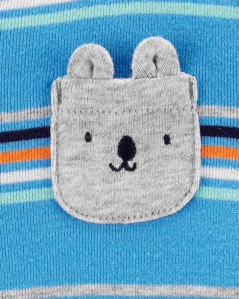 Grenouillère en coton rayé avec boutons-pression et ours