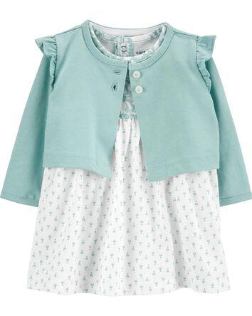 2-Piece Mixed Print Bodysuit Dress...