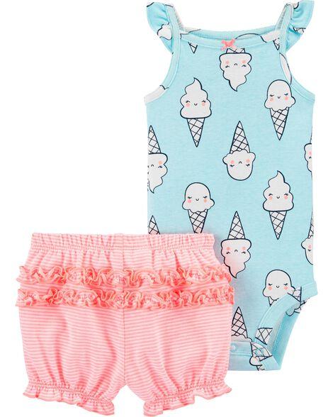 2-Piece Ice Cream Bodysuit Short Set