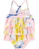 1-Piece Floral Ruffle Swimsuit, , hi-res