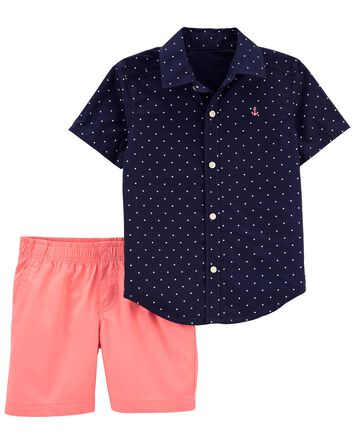 2-Piece Button-Front Shirt & Short...
