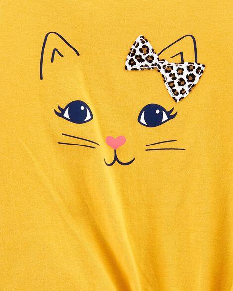 Cat Tie-Front Jersey Tee