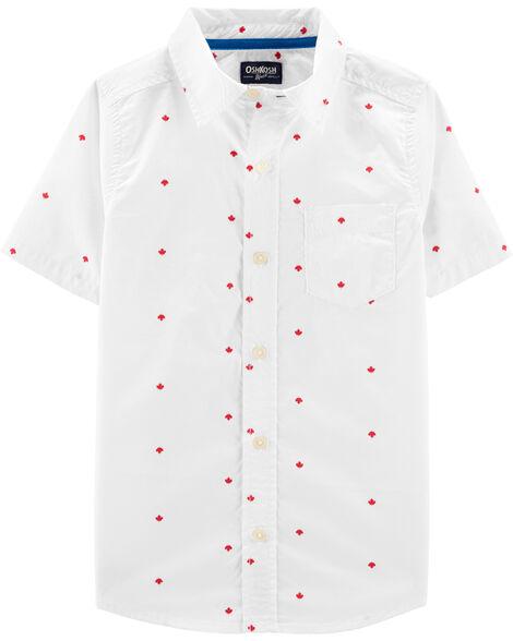 Chemise boutonnée à feuilles d'érable Fête du Canada