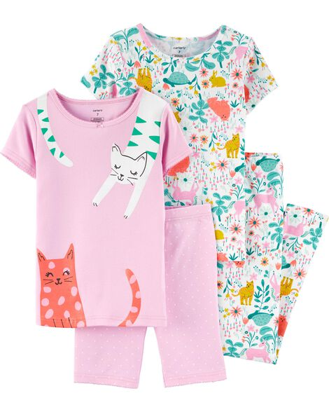 4-Piece Floral Cat Snug Fit Cotton PJs