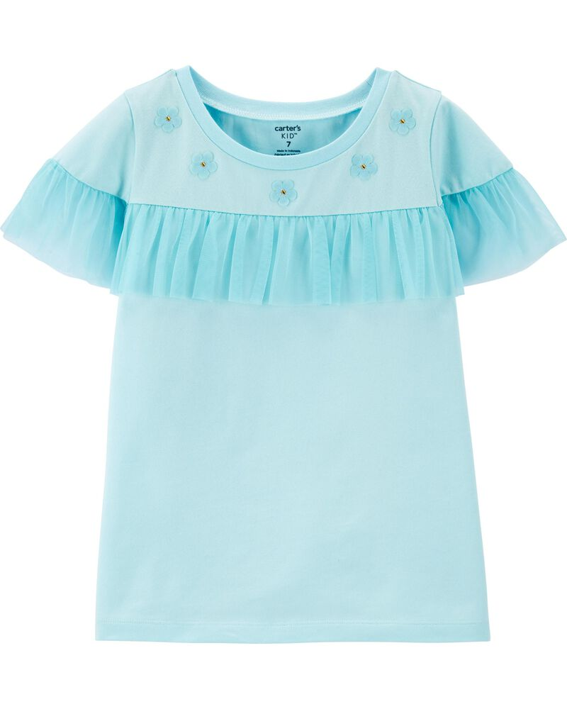 Floral Tulle Jersey Top, , hi-res