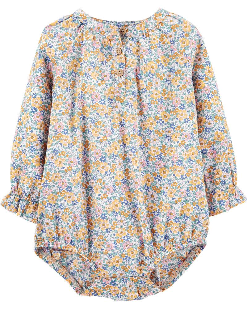 Ditsy Floral Poplin Bodysuit, , hi-res