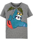 T-shirt en jersey chiné avec paresseux, , hi-res