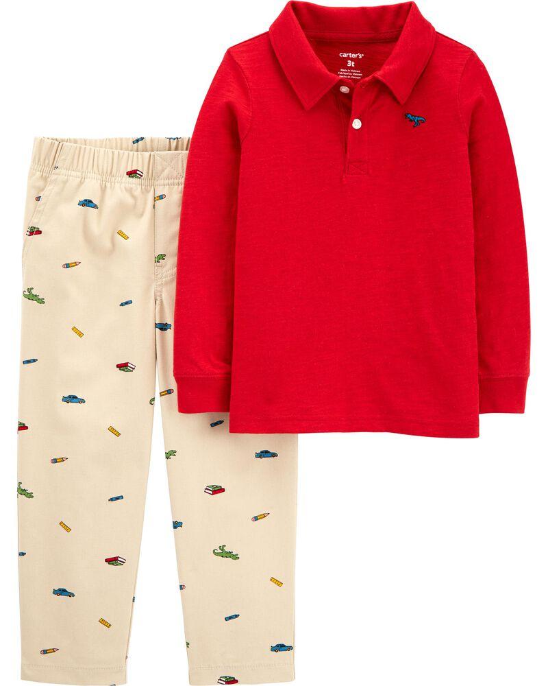 Ensemble 2 pièces polo en jersey flammé et pantalon à broderie schiffli, , hi-res