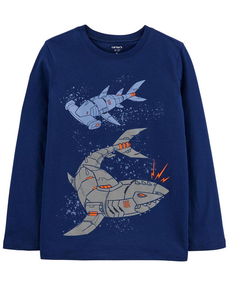 T-shirt en jersey avec requin robot, , hi-res
