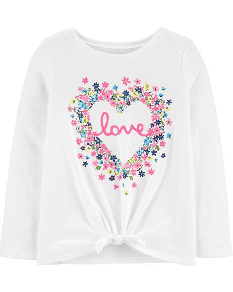 T-shirt en jersey à cœur fleuri et nœud devant