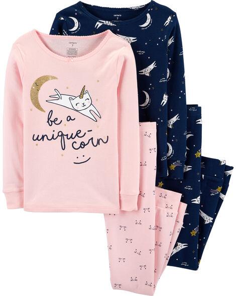 Pyjama 4 pièces en coton ajusté à chats licornes