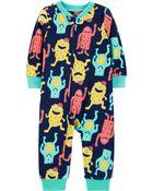 Pyjama 1 pièce sans pieds en molleton avec monstre, , hi-res