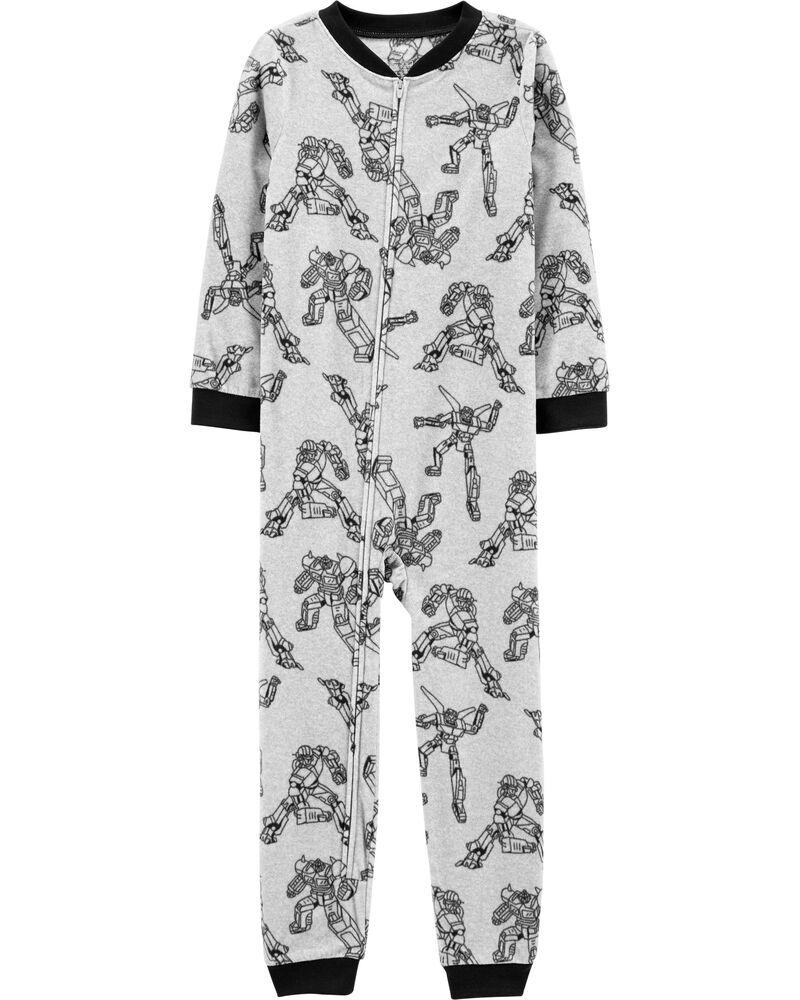 Pyjama 1 pièce en molleton sans pieds à robot, , hi-res
