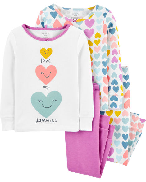 4-Piece Heart Snug Fit Cotton PJs
