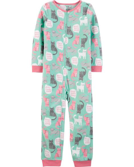 Pyjama 1 pièce sans pieds en molleton chat