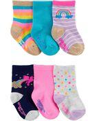 Emballage de 6 paires de chaussettes mi-mollet à licornes et arcs-en-ciel, , hi-res