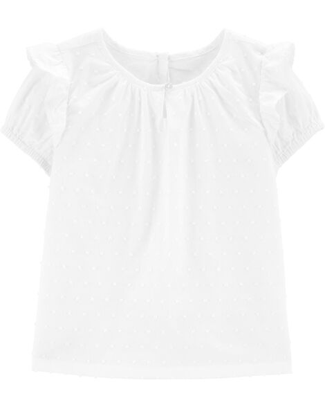 Ruffle Sleeve Dobby Top