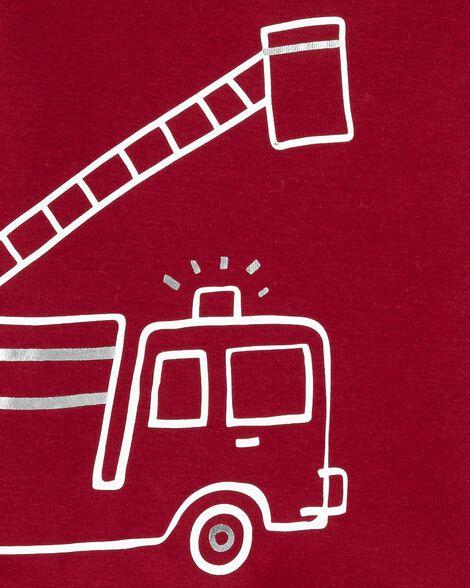 4-Piece Firetruck Snug Fit Cotton PJs