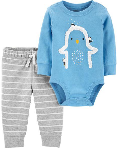 Ensemble 2 pièces cache-couche pingouin et pantalon