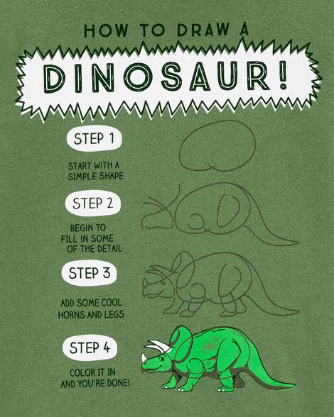 How To Draw A Dinosaur Jersey Tee