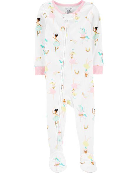 Pyjama 1 pièce à pieds en coton ajusté à ballerine