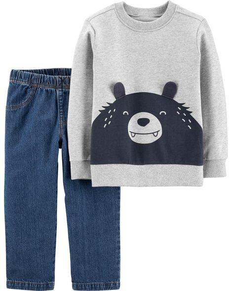 2-Piece Bear Pullover & Denim Pant Set