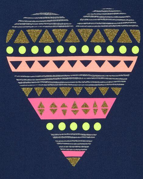 T-shirt asymétrique à cœur scintillant